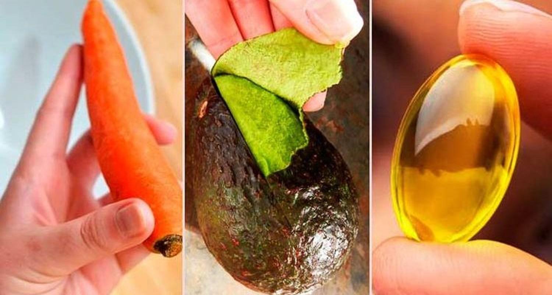 1 zanahoria, 1 aguacate, 1 cápsula de vitamina E, 20 minutos es la magia de tratamiento.